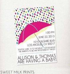 Neutral Rain Umbrella Printable Couples Baby Shower Invitation