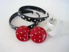 Vintage 80s Polka Dot Mod Earrings Set by Floralecstacy on Etsy, $5.25