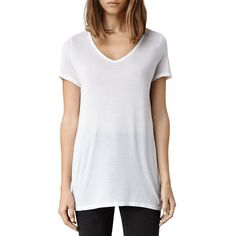 Allsaints Malin V-Neck Tee (105 CAD) ❤ liked on Polyvore featuring tops, t-shirts, optic, slouchy t shirts, v neck tee, v neck tops, slouch tee and slouchy tee