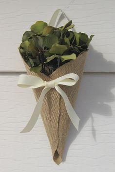 burlap cones wrapped around flowers