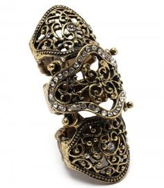 Crystal Jointed Full Finger Knuckle Armor Ring 2 Colors