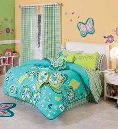 New Girls Aqua Green Butterfly Comforter Bedding Sheet Set Twin