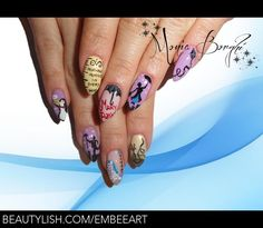 Mary Poppins. Looks great! On regular shaped nail, it would look so much better tho!   Monia B's photo. Disney Inspired Nails, Disney Nails, Mary Poppins, Creative Nails, Cute Nails, Jolly Holiday, Manicure, Nail Designs, Nailart