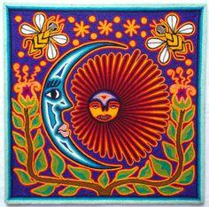 12 Mexican Huichol Sun and Moon Eclipse yarn painting by Aramara Mexican Wall Art, Yarn Painting, Teaching Art, Textile Prints, Bead Art, Art Google, Fiber Art, Folk Art, Art Projects