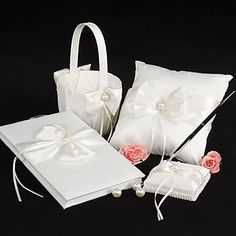 Wedding+Collection+Set+in+Ivory+Satin+With+Crystal+and+Pearl+Accents+(4+Pieces)+–+USD+$+33.99