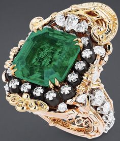 """""""Appartements de Mesdames Arabesque"""" ring in pink and yellow gold, platinum, scorched silver, diamonds and emerald. Diamond Tiara, Diamond Drop Earrings, Emerald Diamond, Dior Jewelry, I Love Jewelry, Jewelry Accessories, Dior Haute Couture, Dior Ring, Charms"""
