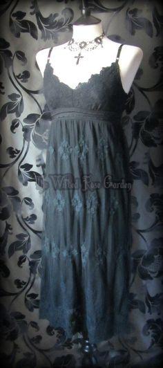 Gothic Rose Black Lace Festival Maxi Dress 8 Gothic Grunge Metal Romantic Boho   THE WILTED ROSE GARDEN on eBay // UK Based // Worldwide Shipping Available