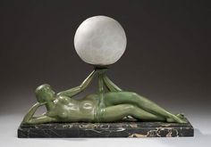 Green Patinated Bronze, Marble & Glass Lamp by Pierre le Faguays (Fayral) 1925