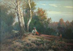 Ignacy Zygmuntowicz: Na wrzosowisku; olej, płótno, 69,5 x 100 cm;