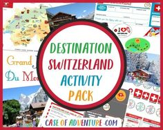 DESTINATION SWITZERLAND Activity Pack!. TheActivity Packcontains 70 pages of printables, activities and a teacher's guide with lesson plans to go with each the 12 chapters of the book. Your children will be able tomark your position on the Switzerland mapusing our Swiss map markers as you travel through Switzerland together, collect visa and passport stamps in their passports, get their Swiss Rail passes and bus tickets punched, make travel wallets and use their Swiss Francs to pay… World Thinking Day, Adventure Activities, Book Activities, Lessons For Kids, Map Marker, Virtual Travel, Visit Switzerland, Unit Studies, Homeschool, Homeschooling