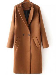 Khaki Lapel Double Breasted Pockets Coat -SheIn(abaday)
