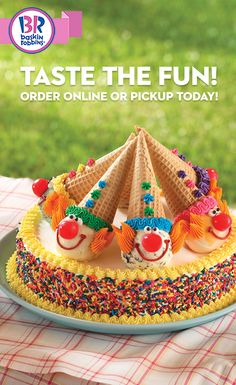 Get ready to clown around at your next birthday party and celebrate with a delicious Clown Cone Cake. Share a smile, a cone and a piece of this tasty treat at your next big birthday celebration. This wonderfully decorated ice cream cake delight is sure to make it a festive time. Customize the individual sugar cones with your favorite flavors and experience smiles all around!