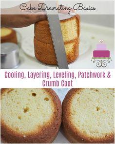 Cake Decorating Basics – Cooling, Leveling, Layering and Crumb Coat - Cake decorating - Cake Recipes Wilton Cake Decorating, Cake Recipe For Decorating, Cake Decorating For Beginners, Cake Decorating Classes, Cake Decorating Techniques, Decorating Tips, Cakes To Make, How To Make Cake, Pumpkin Cake Recipes