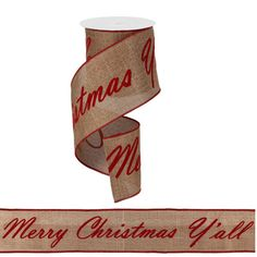"""Merry Christmas Y'all Ribbon Size: 4"""" width; 14 repeats of phrase Color: Caramel, Red"""