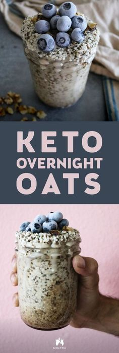 A new spin on traditional overnight oats this Keto overnight oats recipe is so full of healthy fats fiber and flavor. A new spin on traditional overnight oats this Keto overnight oats recipe is so full of healthy fats fiber and flavor. Bolo Vegan, Cena Keto, Keto Diet Breakfast, Breakfast Recipes, Breakfast Casserole, Starting Keto Diet, Keto Friendly Desserts, Oats Recipes, Diet Recipes