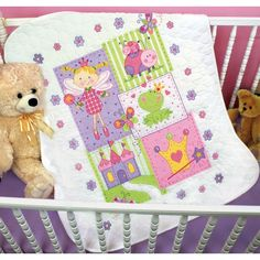 The Fairy Baby Quilt Stamped Cross Stitch Kit is from the Dimensions Baby Hugs collection.  The Fairy Quilt is a sweet fairy princess themed baby quilt, perfect for baby girl!  This baby quilt embroidery kit includes a prefinished cotton/polyester quilt, presorted cotton thread, needle, and easy instructions.