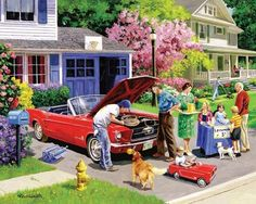 Ready for a Drive, piece puzzle. British artist Kevin Walsh has painted this view of pure Americana. On a leafy suburban street Mom replenishes the kid's lemonade stand as Junior & Dad restore a classic Mustang convertible. Illustrations Vintage, Illustration Art, Lifestyle Illustrations, Vintage Images, Vintage Art, Vintage Soul, Vintage Pictures, Jigsaw Puzzels, Kids Lemonade Stands