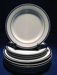 10~Maitre De Porcelain by Oneida 6 Dinner & 4 Bread Plates ~White With Blue Band