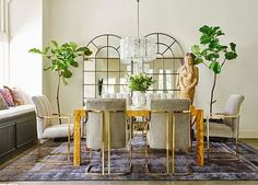 beautiful brass-accented dining chairs