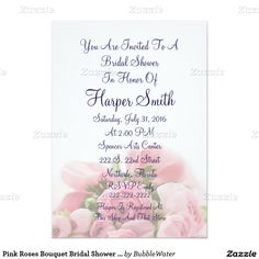 Pink Roses Bouquet Bridal Shower Invitation
