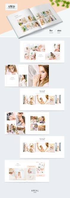 Wedding Album Template / AWD by ArealPro on design layout Wedding Album Layout, Wedding Collage, Wedding Album Design, Wedding Photo Books, Wedding Photo Albums, Wedding Photos, Web Design, Layout Design, Baby Album