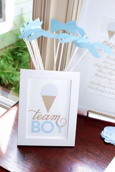 Team Boy printables from Ice Cream Social Gender Reveal Party at Kara's Party Ideas. See more at http://karaspartyideas.com!