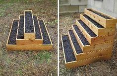 Stair step raised garden bed for small garden space (Danielle Jarvis!! You were just talking about starting a garden with your tiny space! Whale. Now space doesn't matter:))
