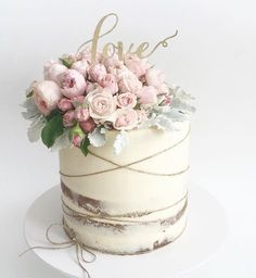 Seminaked Wedding Cake with cream, lilac and blush. Get more coordinating stationary at ispirato printables.com