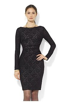 Lauren Ralph Lauren Long-Sleeved Lace Boat Neck Dress