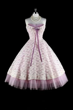 ca. 1950's Lilac Silk Chiffon Fit & Flare  Patterned Dress.
