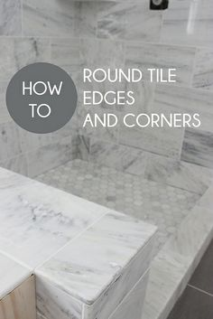 Step-by-step tutorial on how to round tile edges and corners for a finished look, without using the ugly tile edges. Tiny Laundry Rooms, Laundry Room Bathroom, Bathroom Ideas, Master Bathroom, Bathrooms, Tile Counters, Countertops, Dover House, Tile Edge