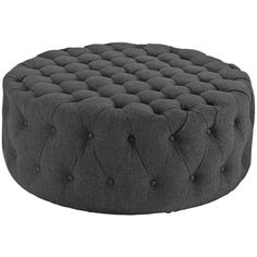 Modway Furniture Amour Fabric Ottoman Gray By ($296) ❤ liked on Polyvore featuring home, furniture, ottomans, fabric ottoman, round fabric ottoman, upholstered footstool, round gray ottoman and gray tufted ottoman