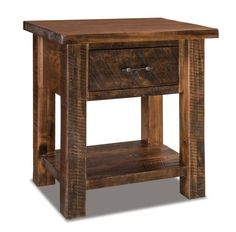 Amish Rustic Houston Large One Drawer Open Nightstand Rustic style nightstand for a farmhouse chic bedroom. Thick posts and choice of finish and hardware. Made with brown maple wood. Option to add touch nightlight, security tray and slide out water tray! #nightstand #farmhousebedroom #farmhousefurniture #bedroom #rustic