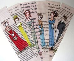 Jane Austen Bookmarks  Set of 6 by CastleOnTheHill on Etsy, $9.50 to go with all those books!