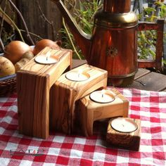 Set of 4 modern wooden candle holders out of by Premiumolivewood