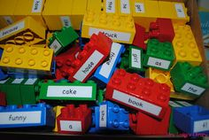 Mrs. Lodge's Library: Great Idea put words or letters on legos and get those kiddos engaged