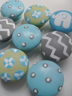 Drawer Knobs for Children Handpainted MIX n by GypsyLaneDesigns