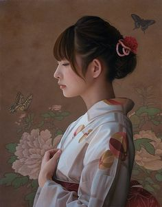 In line with the ultra-realistic paintings of Yigal Ozeri (previously featured), here is the work of the Japanese artist Yasutomo Oka… Female Portrait, Female Art, Woman Portrait, William Adolphe Bouguereau, John William Waterhouse, Culture Pop, Realistic Paintings, Japanese Artists, Yukata