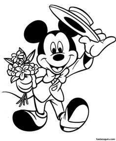 Printable disney valentine colorng pages with Mickey Mouse - Printable Coloring Pages For Kids
