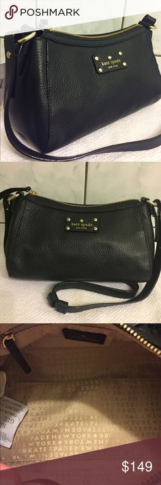 KATE SPADE GABRIELLA BLACK SHOULDER BAG NWT KATE SPADE GABRIELLA BERKSHIRE ROAD BLACK LEATHER SHOULDER BAG. INTERIOR ONE ZIPPERED POCKET AND TWO FUNCTIONAL SLIP POCKETS. GOLD TONE HARDWARE DETAILS. ADJUSTABLE SHOULDER STRAP. kate spade Bags Shoulder Bags