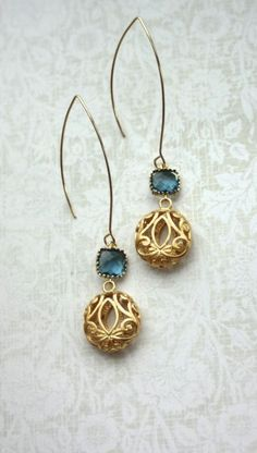 Sapphire Navy Blue and Round Gold Filigree Earrings. Wedding Jewelry, Bridal Earring. Summer. Bridesmaid Gifts. Blue Gold Wedding by Marolsha