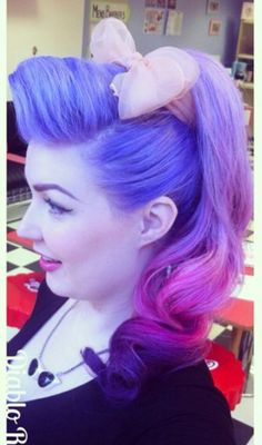 Purple pink ombre rockabilly dyed hair in vintage style