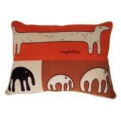 """USA Angelo Testa """"Animal Forms"""" screen-printed cotton pillow with down filling ca1960s h18w25"""