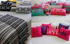 almofadas de tricot - princesas e caveiras