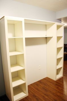 2 - Ikea lack bookshelves attached by shelving for a stand alone storage or media area!