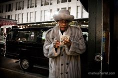 modern american color street photography by Markus Hartel, New York. This image represents the quite side of the streets in New York. I like this photography because its focusing on both the street and old man. Color Photography, Street Photography, Hipster Quote, Car Tattoos, Grey Fur Coat, Rich Money, Black Vans, Photography Workshops, New York Street