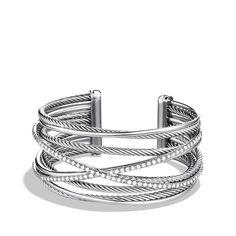 Crossover Five-Row Cuff Bracelet with Diamonds