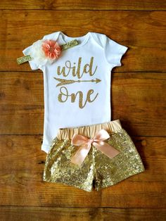 Wild One First Birthday Outfit Girl Peach And Gold