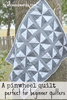 This simple pinwheel quilt looks a lot more difficult than it actually is