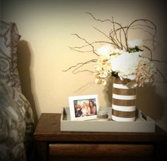 I tried a little Quaker Oats container action...spray painted gold and white #upcycle #repurposed